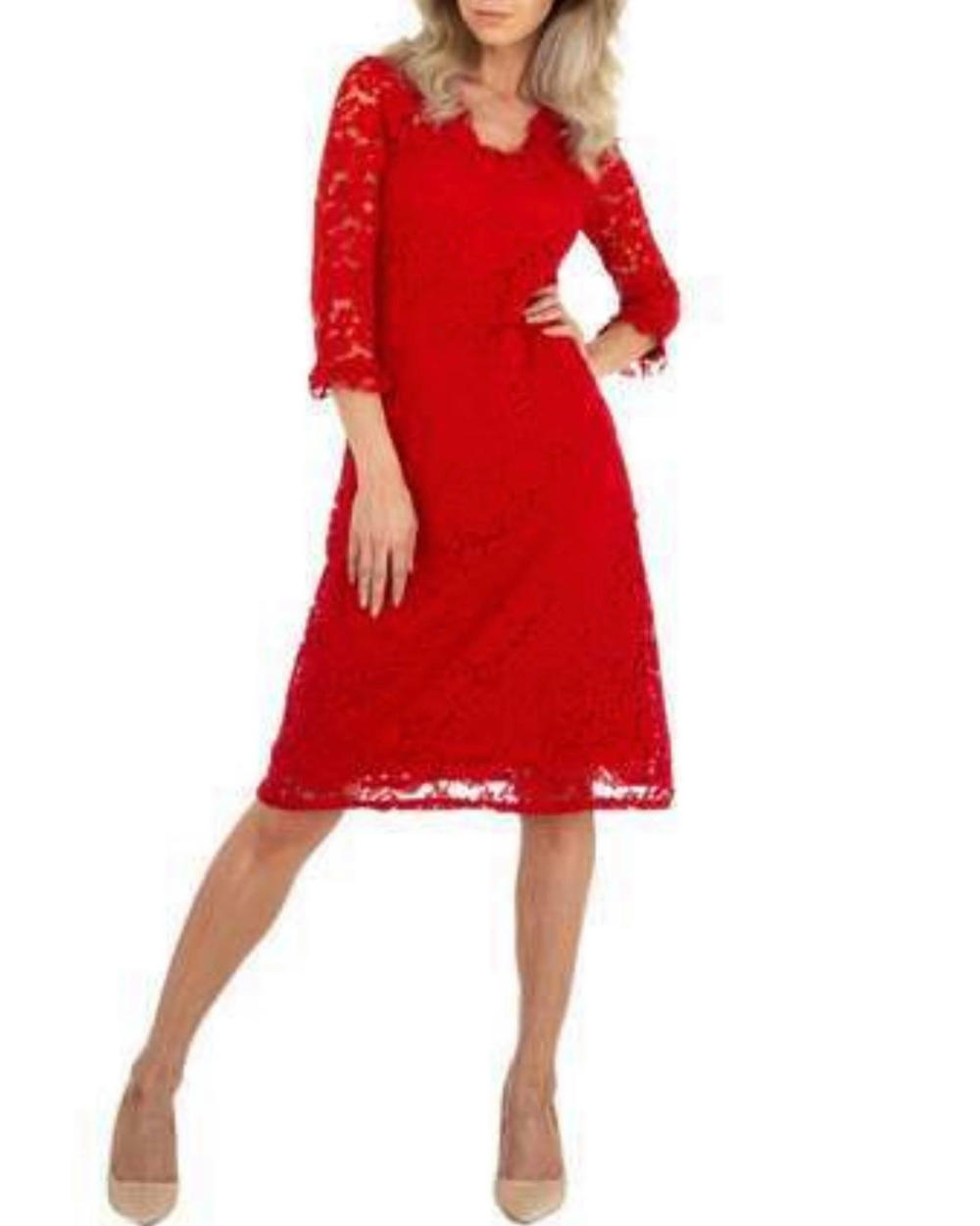 LACE COCKTAIL DRESS RED