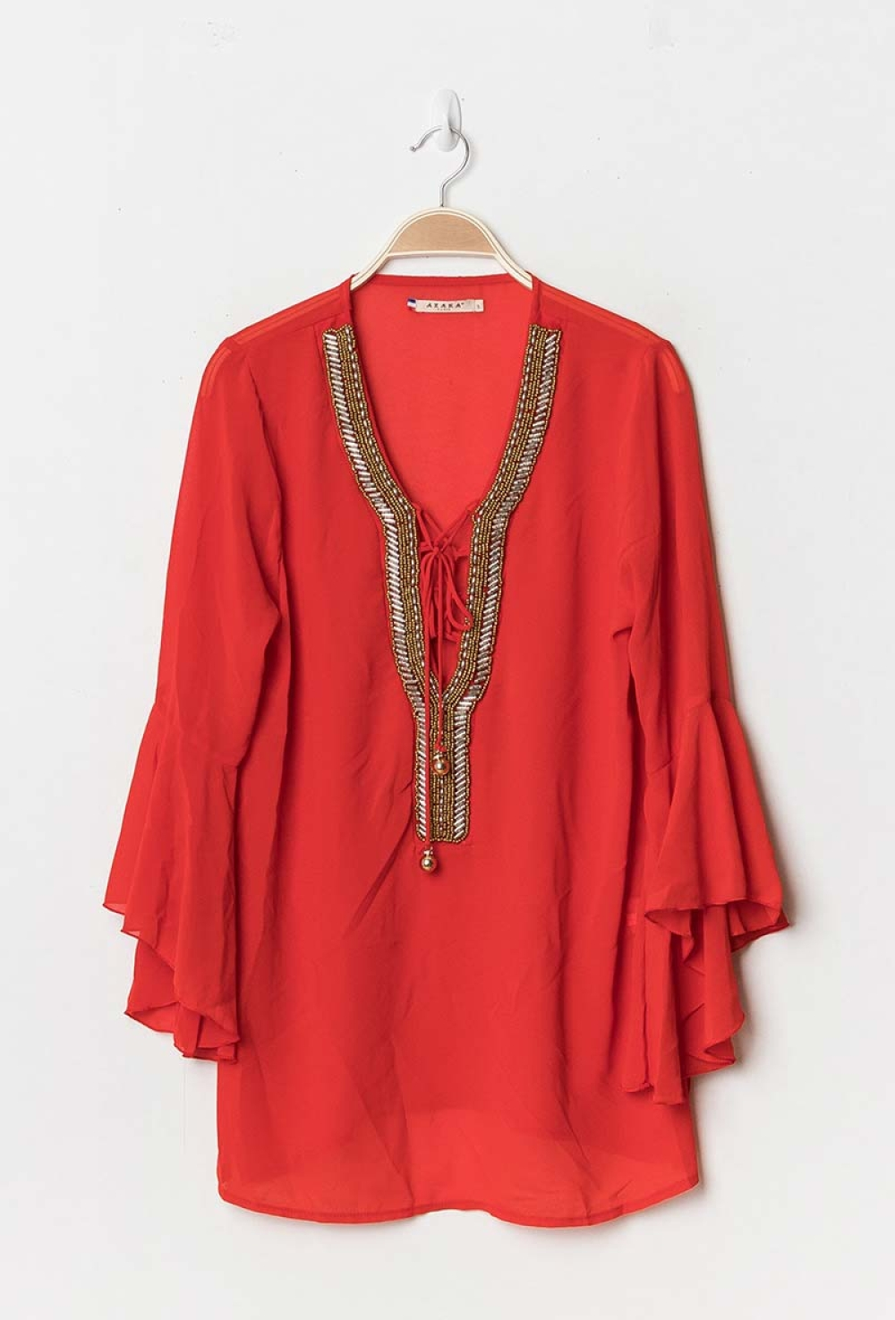 FLARED BLOUSE RED